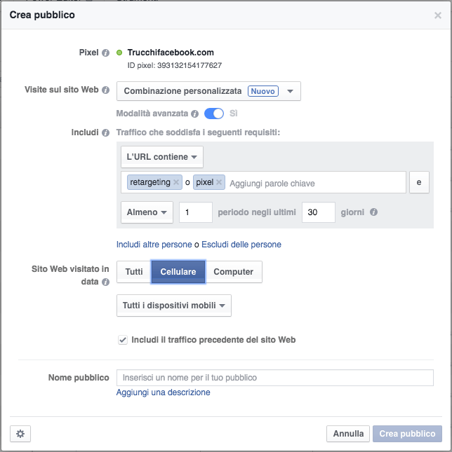 retargeting avanzato facebook
