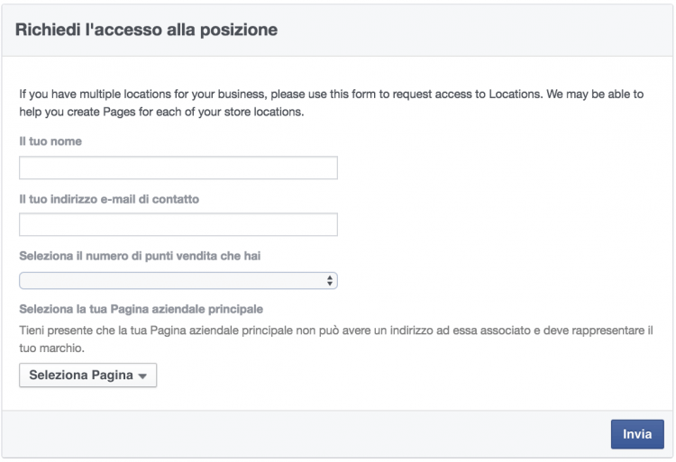 richiedi accesso facebook location