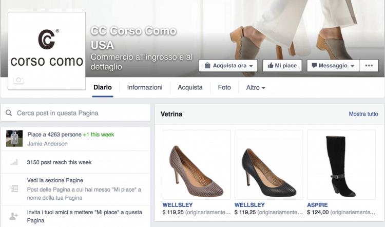sezione shop acquista pagina facebook