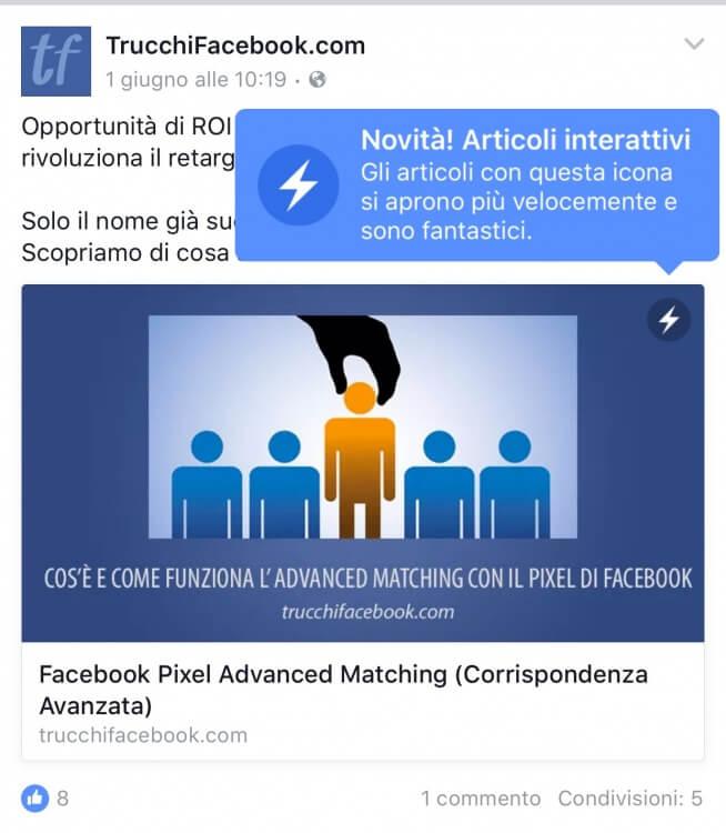 articoli interattivi facebook