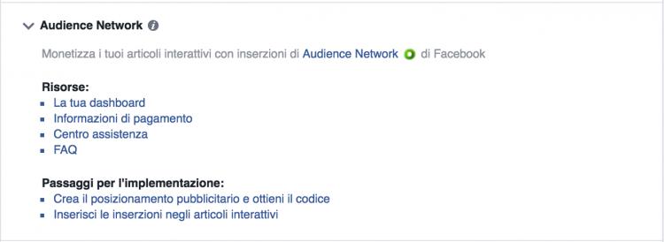 audience network articoli interattivi