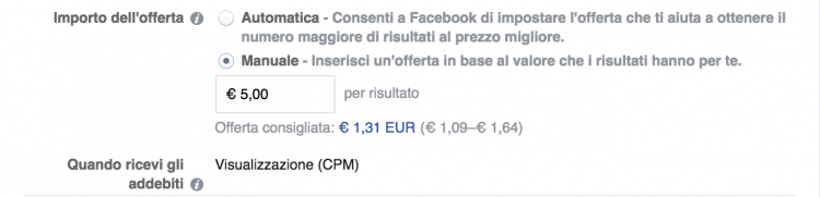 importo offerta facebook