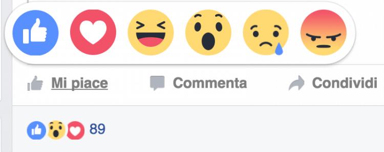 reazioni facebook