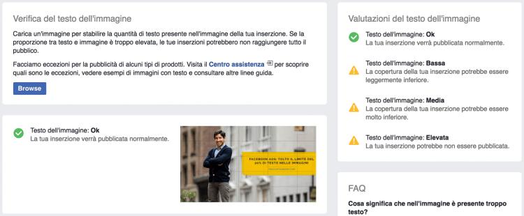strumento di sovrapposizione del testo facebook