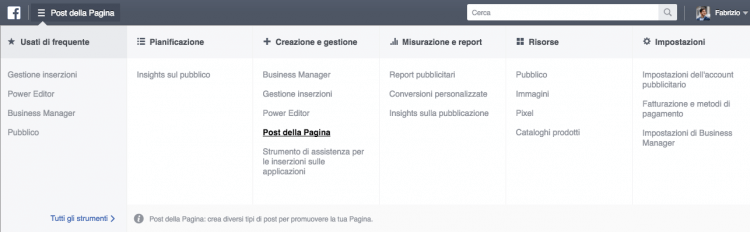 post della pagina power editor