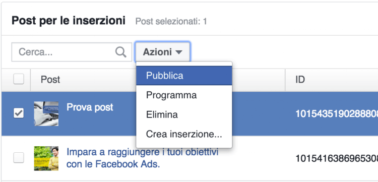 pubblica post facebook power editor