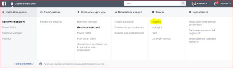 pubblico account pubblicitario facebook