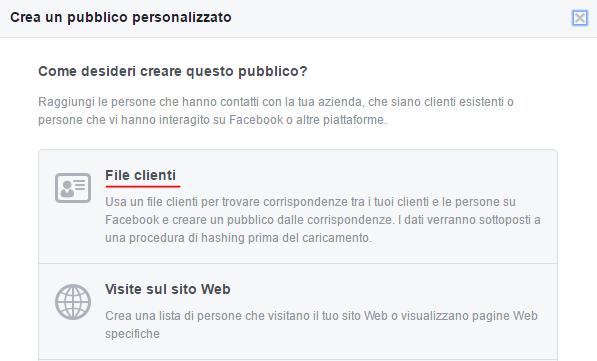pubblico personalizzato file clienti