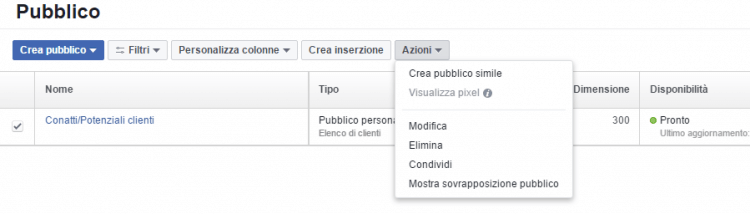 usa lista clienti facebook ads
