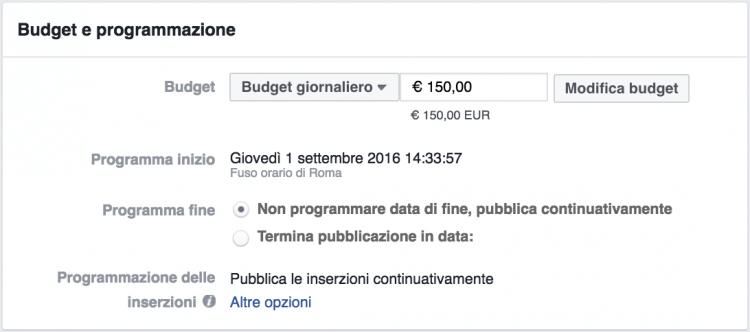 modificare budget pubblicitario facebook