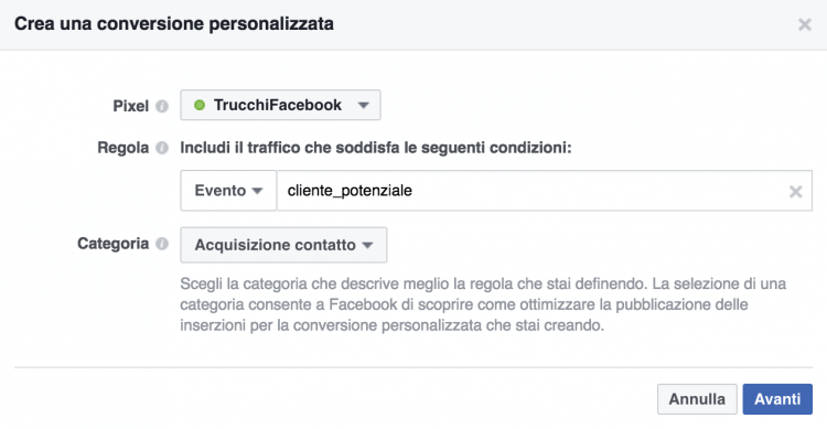 Conversione personalizzata con evento