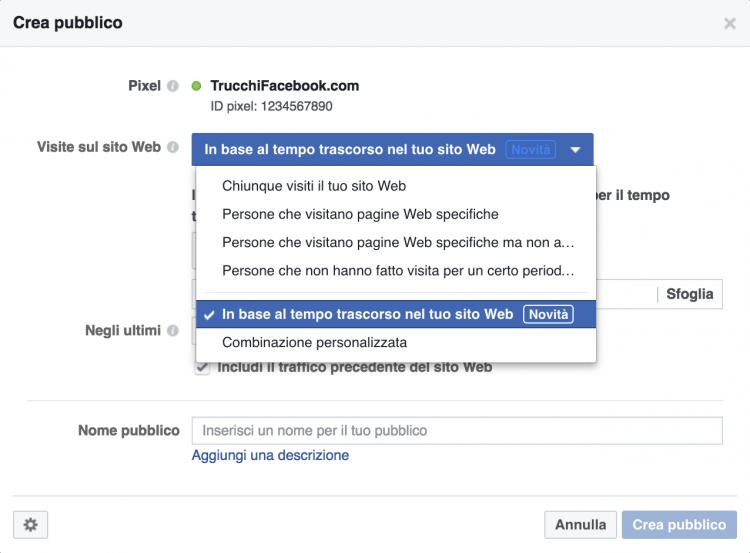 Facebook retargeting: tempo sul sito web