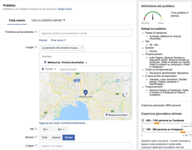 Scelta target con Facebook Ads