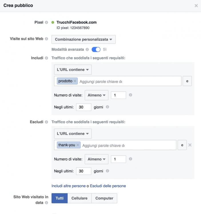 Facebook retargeting: modalità avanzata