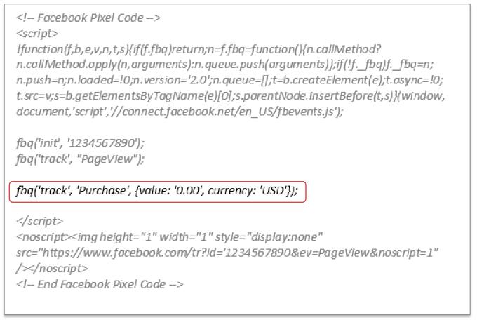 esempio pixel facebook