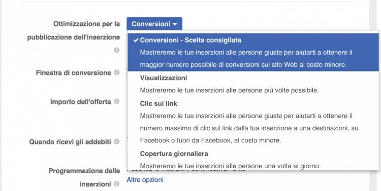 Ottimizzazione della pubblicazione delle inserzioni per conversioni