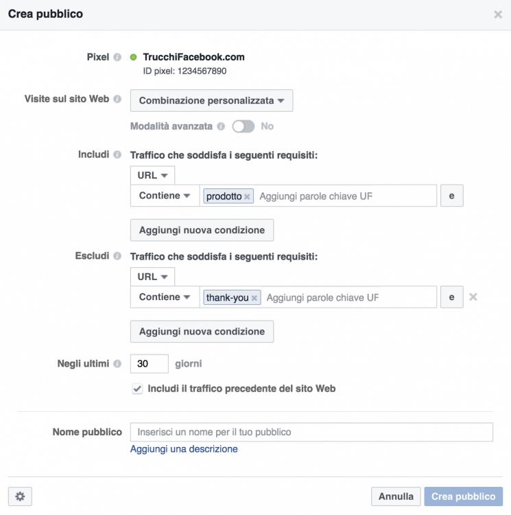 Facebook retargeting: combinazione personalizzata