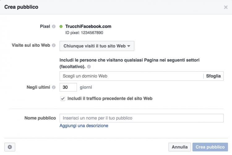Facebook retargeting: chiunque visiti il sito web