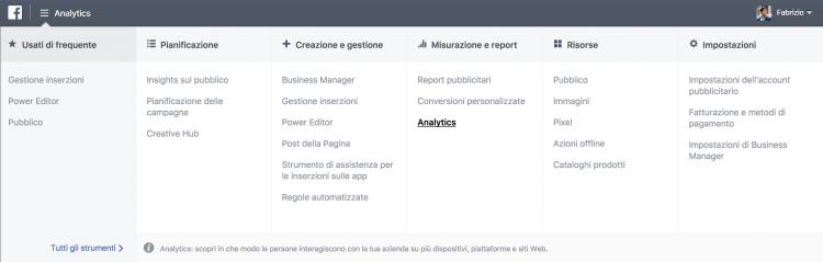 Accesso a Facebook Analytics