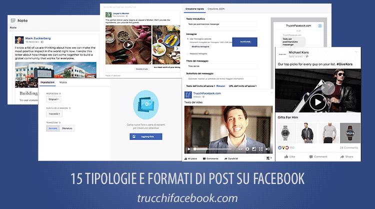 Tutte le tipologie di post su Facebook