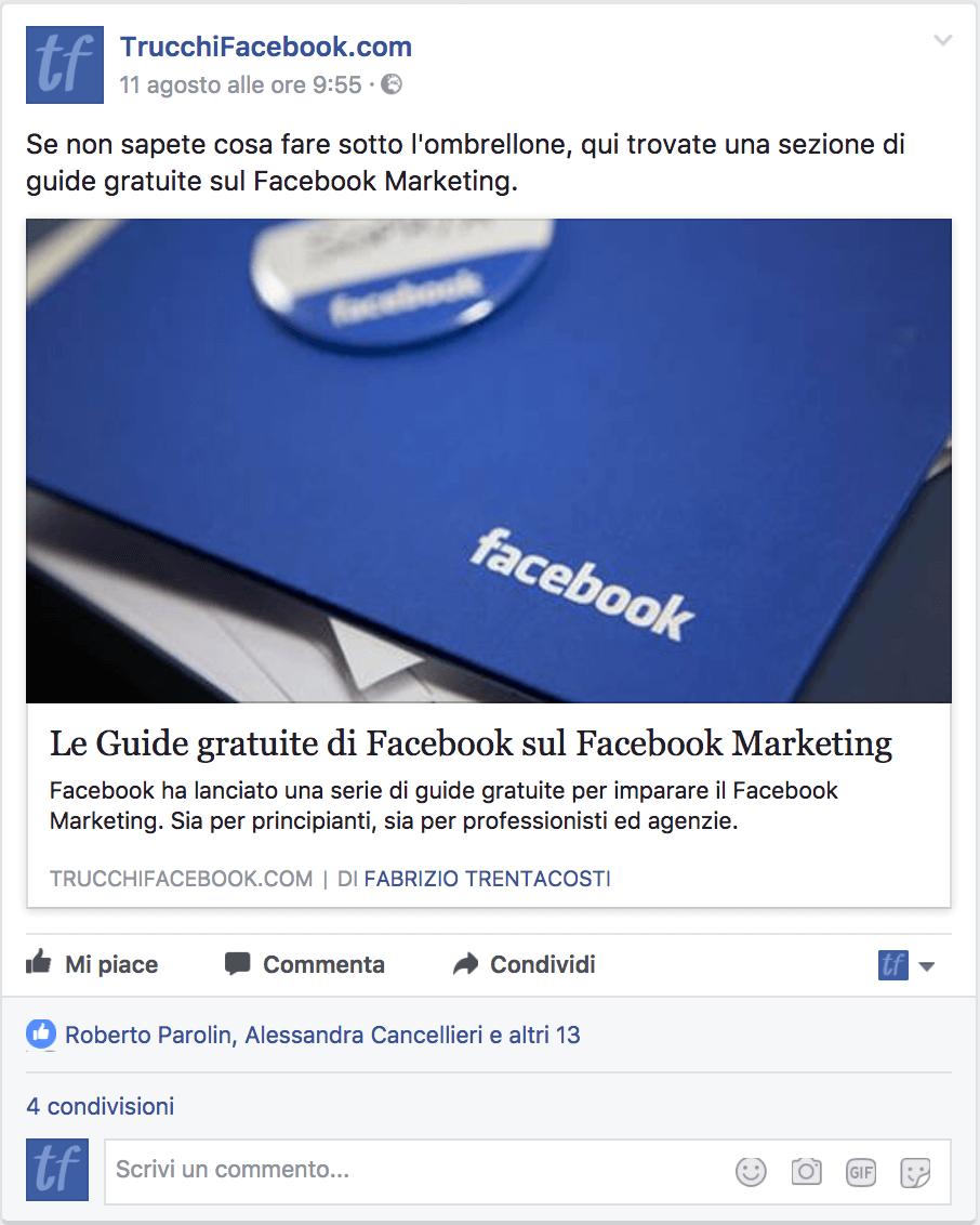 link aggiornato su Facebook