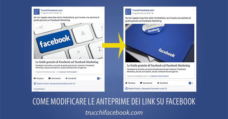 modifica o aggiorna anteprima link facebook
